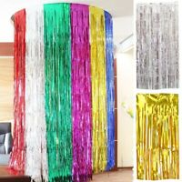 2m/3m  Foil Fringe Curtain Tinsel Birthday Party Decor Wedding Supply