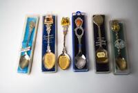 Lot of 6 Silver Plated Teaspoons Boxed Souvenir Spoons NT/Menzies/MENAAM