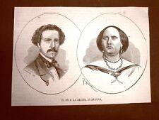 Re Francesco d'Assisi di Borbone-Spagna e Regina Isabella II di Spagna nel 1866
