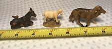 Vtg Sheep Donkey TiNy Miniature Mini Farm Collectible Animal Lot Of 3 Resin