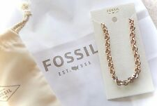 "NWT $48 FOSSIL - BRUSHED GOLD & SILVER LINK 20"" NECKLACE w/CRYSTAL ACCENTS"