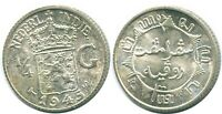 1945 NETHERLANDS EAST INDIES 1/4 GULDEN SILVER Colonial Coin #NL10271.4G