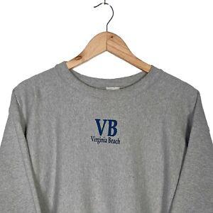 CHAMPION Reverse Weave Vintage Virginia Beach Grey Sweatshirt Jumper - Mens XL