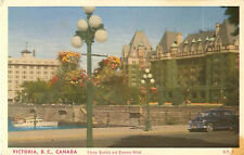 Victoria B.C. Canada Flower Baskets And Empress Hotel Postcard