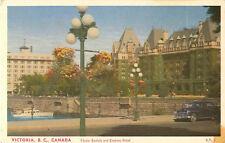 Victoria B.C. Canada Flower Baskets And Empress Hotel Postcard
