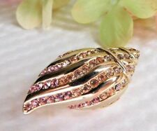 VTG MONET SIGNED CRYSTAL RHINESTONE CONCH SEA SHELL GOLD PLATED BROOCH PIN F33