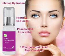 Pure 100% Hyaluronic Acid + 20%Vitamin C Anti Ageing Skin Plumping Serum 60 ml
