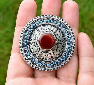 Vintage Red Carnelian Stone Afghan Kuchi Ring Tribal Dome Ethnic Carved Band Big