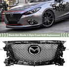 FITS 2017-2018 MAZDA 3 GLOSSY BLACK HONEYCOMB FRONT GRILL REPLACEMENT W/ EMBLEM
