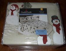 Cuddl Duds Heavyweight Cotton Flannel Tan Snowman Full Size Sheet Set Kohl's