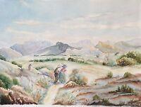 Grande aquarelle collines d' Allauch Provence Marseille signée M Cobourg 1862