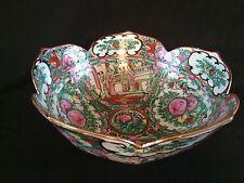 Antique Chinese ROSE MEDALLION  Porcelain Punch Bowl . Marked