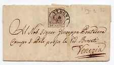 ANTICHI STATI 1852 LOMBARDO VENETO  30 CENTESIMI VERONA 9/5 D 03366