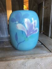 "Fukagawa Porcelain Vase, Blue With Flowers 6.75"" Tall"
