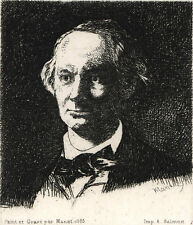 """Portrait of Charles Baudelaire"" by MANET, Edouard, etching 1865/later printing"