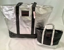 VICTORIA'S SECRET  Weekender BAG TOTE  Metallic Silver XLarge & Matching Purse