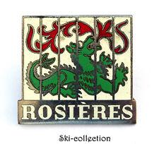Ancienne Plaque ROSIÈRES. Avec Dragon. Email, argentée. A 2 vis. Vers 1960