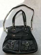 B. MAKOWSKY AUTHENTIC GORGEOUS BLACK LEATHER TOTE PURSE HEAVY SILVER HARDWARE