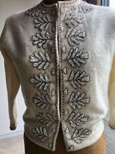 Vintage 50s Knit Cardigan Sweater S Cream Lambswool Angora Hand Beaded