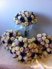 IVORY & ORCHID VIOLET ROSE PCKAGE 8 PIECE WEDDING  BOUQUET ARTIFICAL SILK FLOWER