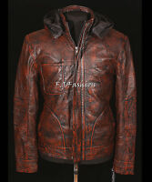 Ghost Protocol Mission Impossible Stained Brown Men's Hooded Real Leather Jacket