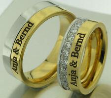 2 Fedi Nuziali ANELLI FIDANZAMENTO NOZZE in acciaio oro argento con