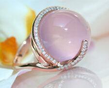 Gorgeous Women Pink Moonstone Wedding Sz 6-10 Gemstone Ring 18K Rose Gold Filled