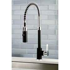 Black & Chrome Modern Spiral Pulldown Kitchen Faucet