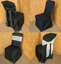 More details for new black cotton banquet chair removable slip covers & bows restaurant wedding
