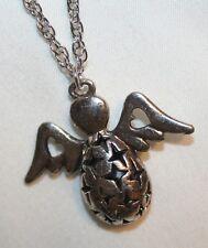 Delightful Cutwork Sculpted Silvertone Angel Pendant Necklace