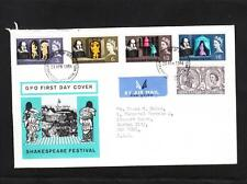 Great Britain Shakespeare Festival FDC to USA Cover & Stamp Designer Insert z75