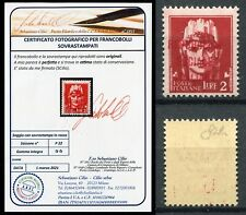 R.S.I 1944 Imperial test with soprastampa in Red Lire 2 MNH ** Saxon p22