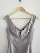 Black Halo Women's Fitted Light Grey Dress with Silver Zipper Size 0
