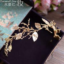 Baroque Gold Queen Tiara Wedding Headdress Headband Bridal Leaves Accessory 2017