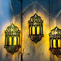 1XMuslim Islamic EID LED Lichterkette Licht Holz Mubarak Ramadan Home Decor