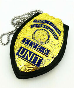 US Hawaii Five-0 Badge Hawaii 5 o Badge & Chain Belt Leather Badge Holder Gift