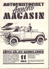 Motorhistoriskt Magasin Annon Swedish Car Magazine 11 1984 Opel 032717nonDBE