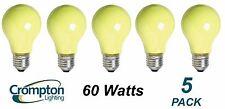 5 x YELLOW Coloured Party / Festoon Light Globes Bulbs Lamps 60W E27 Screw A60