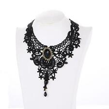Black Lace & Beads Goth Punk Tatoo Collar Choker Retro Vintage Necklace