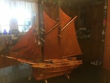 Old All Wood Hand Carved Wooden Sailing Ship ,Boat , Yacht, Schooner, Fragata