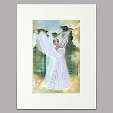 """Historic Angel Print for women/girls Mounted Wall Art with Doves A4 12"""" x 16"""""""