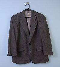 """Vintage Tweed Jacket In Grey & Black Herringbone Wool Blazer 42"""" Cricketeer"""