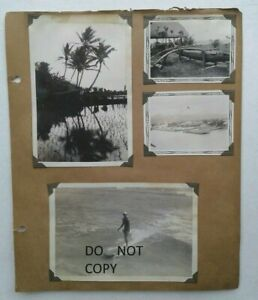 C.1930'S PHOTOS...VIEWS, DUKE KAHANAMOKU ? SURFING ON LONG SURFBOARD HAWAII