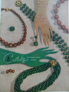 1948 Castlecliff nut agate brown malachite beads necklace vintage jewelry ad