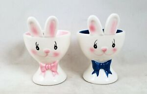 Easter Bunny Egg Cups Set of 2 Pink and Blue New