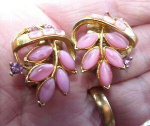 JEWELLERY - LOVELY PAIR VINTAGE PINK GLASS & RHINESTONE EARRINGS CLIPON LYNCH260