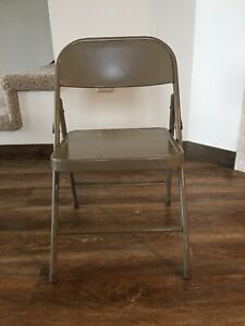Vintage Mid Century 1950 1960's Child's Kids Krueger Tan Metal Folding Chair