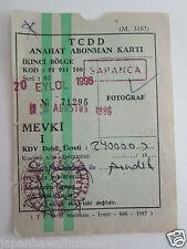TCDD Anahat karti Turkish Railways 2nd zone abonnement card Sapanca Turkey 1996