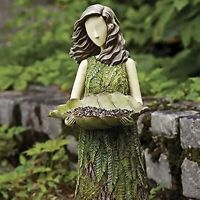 Sherwood Fern Fairy Statuary with Bird Feeder Garden Art Ornament Gift to Nature