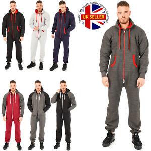 Mens All In One Piece Pajama Jumpsuits Plain Fleece Hoodie Nightwear Play Suits